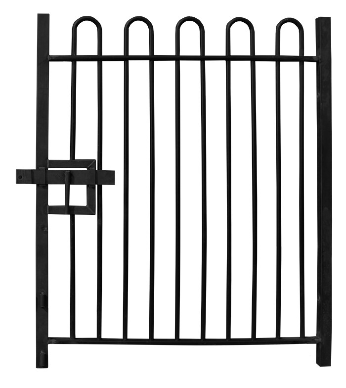 2.1m high Single Leaf Standard Bow Top Railing Gate