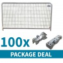 Round Top Temporary Fencing Package Deal 100 x Blocks, Clips and Panels