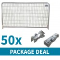 Round Top Temporary Fencing Package Deal 50 x Blocks, Clips and Panels