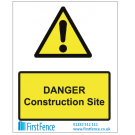 Danger Construction Site Health and Safety Sign
